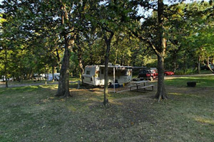Photo of a camper parked in a campsite shaded by oak canopy.