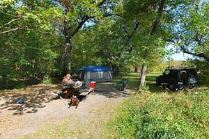 Photo of a campsite in Maplewood State Park's Lida Lake Campground.