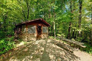 Photo of one of the five camper cabins at Maplewood State Park.