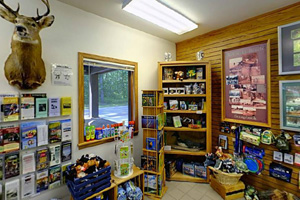 Photo of merchandise within the Nature Store, inside the park office building.