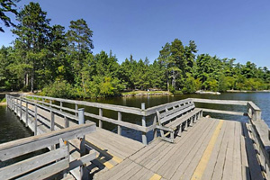Photo of the fishing pier on Side Lake, which makes a great spot to try fishing.