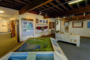 Photo of the inside the Kathio Interpretive Center interpretive displays.