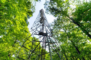 Photo of a former fire tower, converted into an observation platform offering great views of the area.