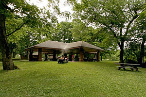 Photo of the open-walled, accessible picnic shelter.