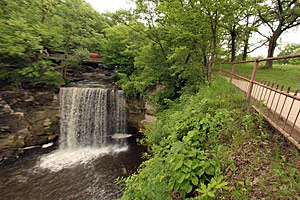 Photo of one of the two waterfalls of the Minneopa Creek.