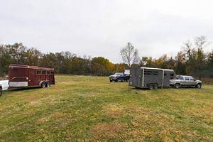 Photo of horse trailers using the Equestrian Day Use parking area.