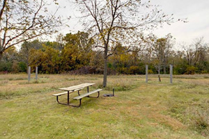 Photo of a picnic table in the equestrian campground.