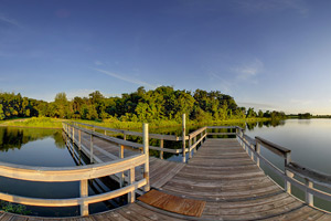 Photo of the wooden fishing pier on Monson Lake.