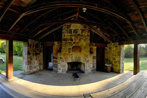 Photo of the fireplace inside the historic stone picnic shelter, built in the 1930s by men of the Veterans Conservation Corps.