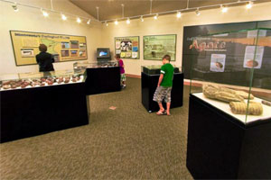 Photo of a woman and two boys learning about agates in the Moose Lake Agate Center exhibit hall.