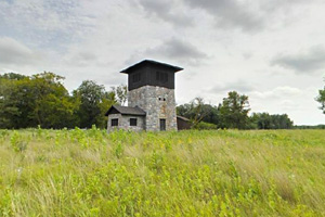 Photo the park's historic stone water tower, built by the Works Progress Administration (WPA).