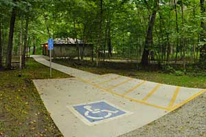 Photo of one of the three handicap accessible campsites available in the campground.