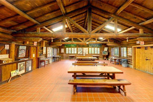 Interior photo of the historical lodge at Scenic State Park, built by the CCC.