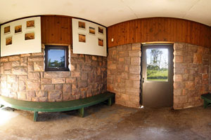 Photo of exhibits inside the interpretive center located on prairie hill.