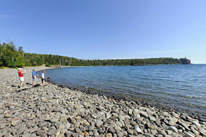 Photo southwest end of Pebble Beach at a place called Little Two Harbors, once the site of a small fishing village.
