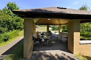 Photo of a picnic shelter located near the Trail Center parking lot.
