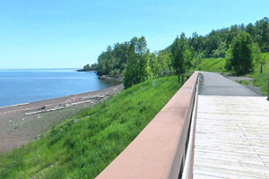 Photo of the Gitchi-Gami State Trail near the mouth of the Split Rock River.