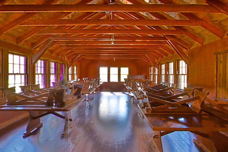 Photo of the historic dining hall located at the Head of the Rapids group center.