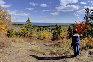Photo of the overlook on Red Dot Trail, which runs through Tettegouche State Park and provides motorized access to the rugged highlands.