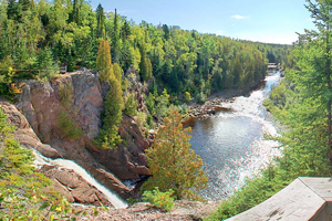 Photo of the High Falls Overlook, perched above the 63 foot High Falls, providing a view of the Baptism River valley.