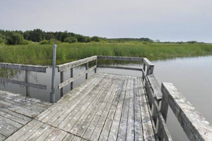 Photo of the wooden fishing pier offering plenty of space for anglers to try their luck.