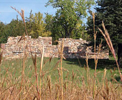 Photo of remains of the Joseph R. Brown House, the first home built of quarried granite in the Minnesota River Valley.
