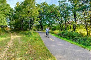 Photo of the dual track trail, one side paved, and the other often used by horseback riders.