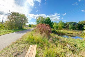 Photo of the trail location near North St. Paul Urban Ecology Center, managed by the Ramsey-Washington Metro Watershed District, as a wetland restoration project and an urban environmental education resource for area schools.