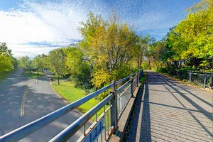 Photo of a view on top of the Westminester Street bridge in the city of St. Paul.