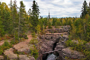 Photo of a view of where the trail crosses the Temperance River Gorge in Temperance River State Park.