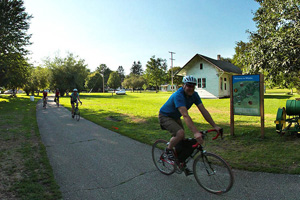 Photo of a trail visitors traveling through the city of Whalan.
