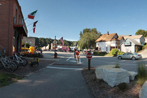 Photo of the downtown area of historic Lansboro, a place that welcomes trail visitors with many things to do.