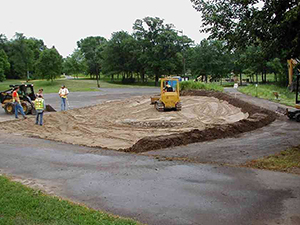 Installation of a bioinfiltration basin: Applying 2 feet of sand. Photo: Dakota County Soil and Water Conservation District.