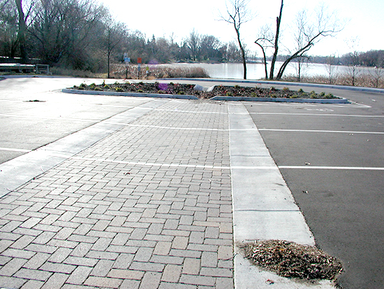 Example of a water access using partial permeable pavement.