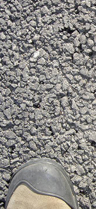 Close-up example of permeable asphalt.