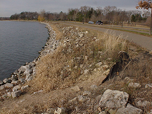 Riprap before shoreline restoration.