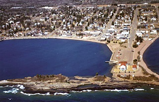 A view by air of public water access site developed by the Minnesota Department of Natural Resources, in cooperation with the city of Grand Marais.
