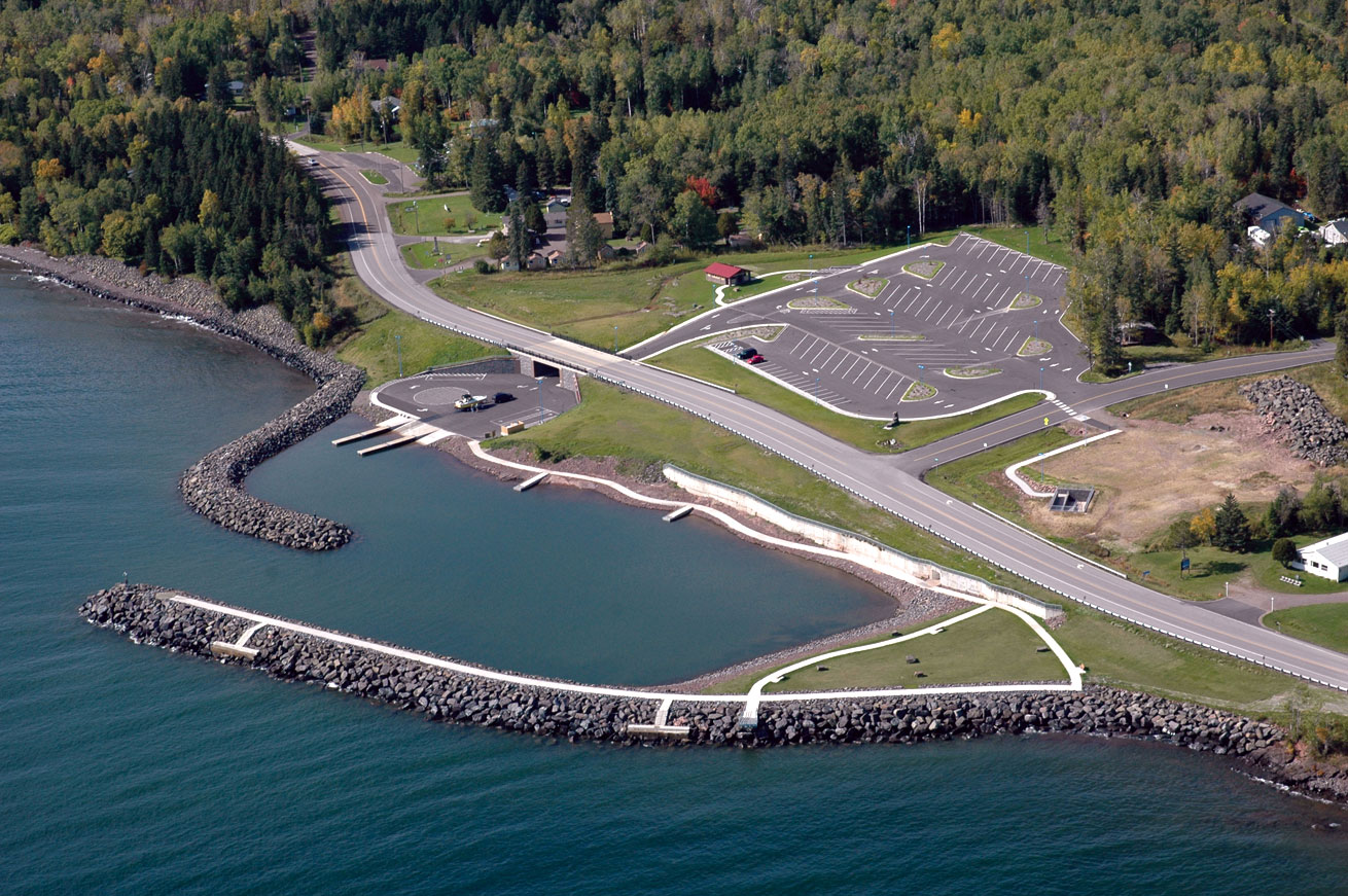 A view by air of the McQuade public water access site.