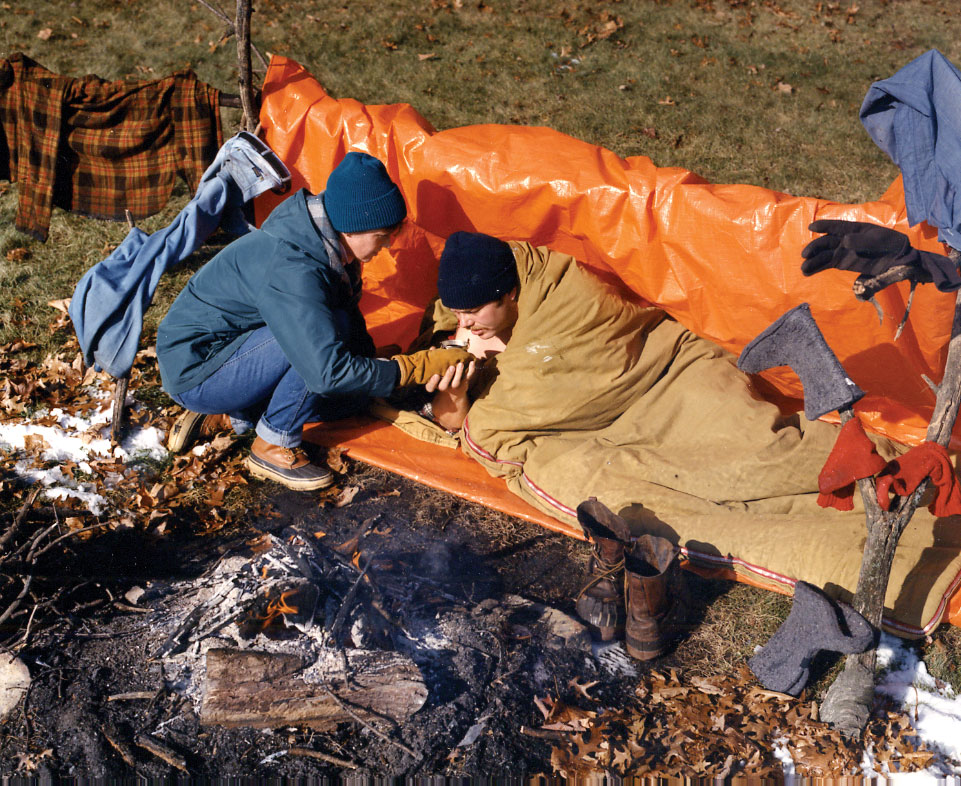 Photo of treating a victim for hypothermia.