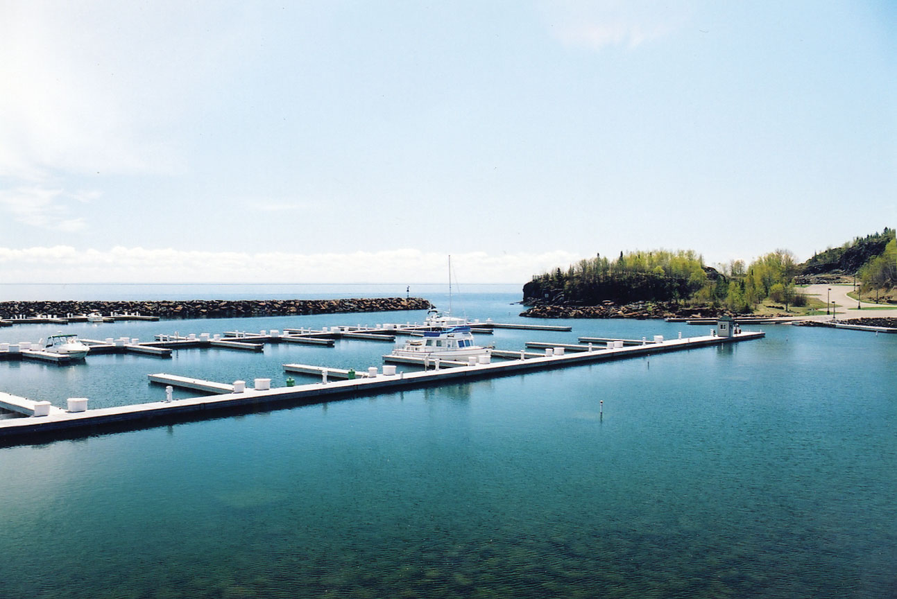 Silver Bay Marina and safe harbor, along the shore of Lake Superior.