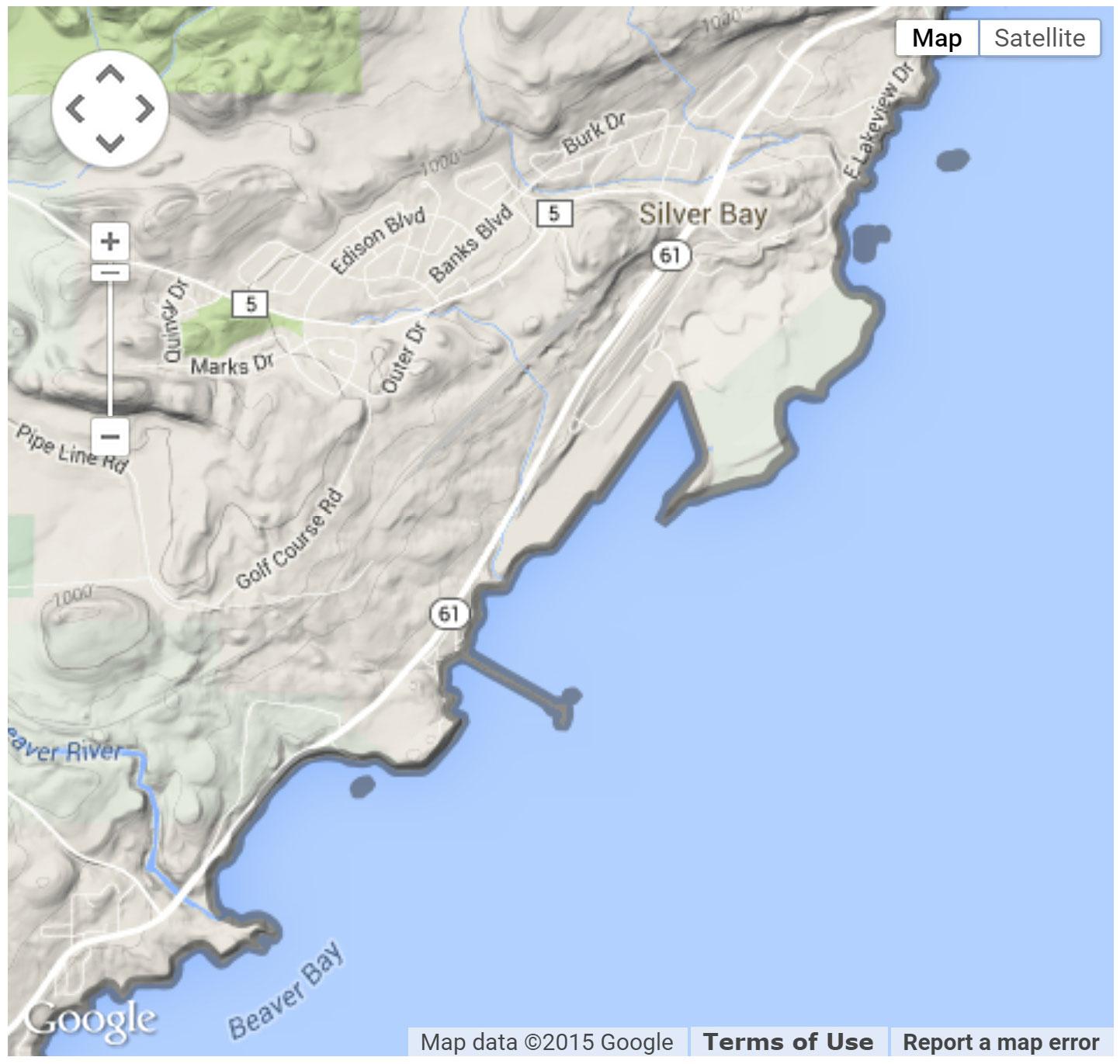 Silver Bay Marina location map.