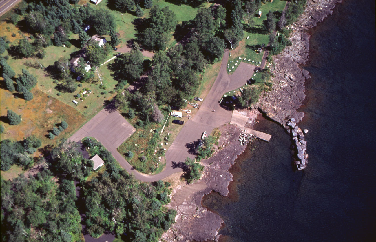A view by air of Tofte public water access site developed by the Minnesota Department of Natural Resources.