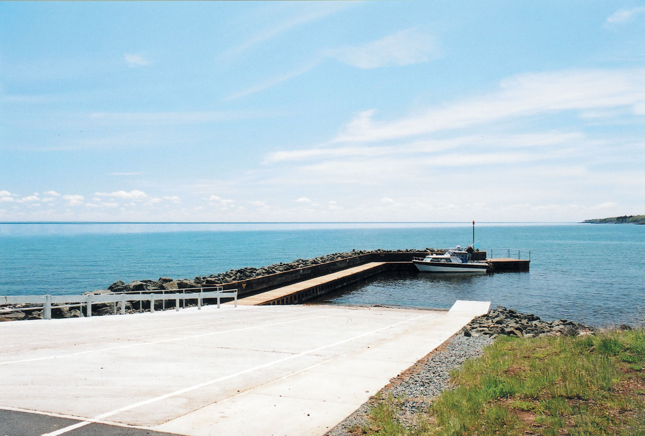 A photo of a public boat ramp at the Twin Points Protected Access along Lake Superior.