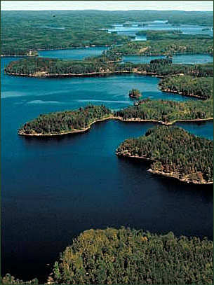 An aerial view of lakes and forests in the Boundary Waters.