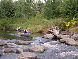 Small rapids provide a fun entry to Appleton City Park
