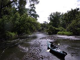 Kayaker paddles this river segment
