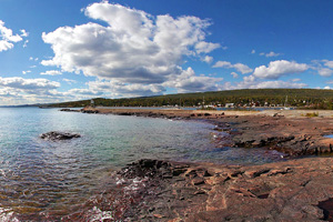 Photo of the picturesque rock outcroppings at Grand Marais.