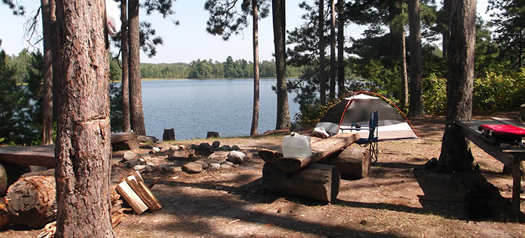 watercraft campsite on Remote Lake in Savanna State Forest