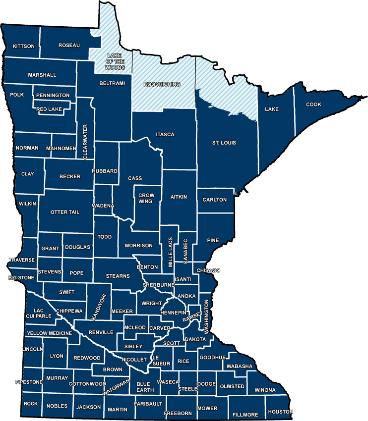 Minnesota County Biological Survey status map.