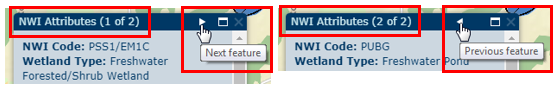 Screen shot of NWI Attributes box when multiple features are selected